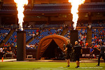 Fire ignites out of the colums of the tunnel where the players run out onto the field.  2015 Under Armour All-America High School Football Game.  January 2nd, 2015. Gator Country photo by David Bowie.