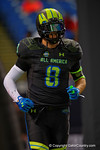 Team Armour TE Tyler Petite runs out during player introductions.  2015 Under Armour All-America High School Football Game.  January 2nd, 2015. Gator Country photo by David Bowie.