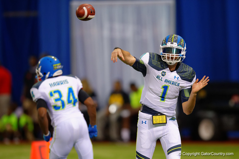 Team Highlight QB Jarrett Stidham throws downfield during the first half.  2015 Under Armour All-America High School Football Game.  January 2nd, 2015. Gator Country photo by David Bowie.