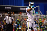 Team Highlight safety Shawn Burgess-Becker points to the television camera following breaking up a fourth down pass in the end zone.  2015 Under Armour All-America High School Football Game.  January 2nd, 2015. Gator Country photo by David Bowie.