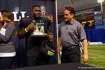 Team Armour DT Daylon Mack is awarded the MVP trophy for Team Armour.  2015 Under Armour All-America High School Football Game.  January 2nd, 2015. Gator Country photo by David Bowie.