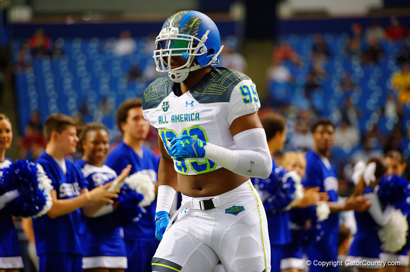 Team Highlight DE Byron Cowart runs out during player introductions.  2015 Under Armour All-America High School Football Game.  January 2nd, 2015. Gator Country photo by David Bowie.