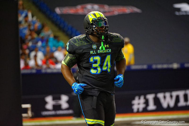 Team Armour DT Daylon Mack runs out during player introductions.  2015 Under Armour All-America High School Football Game.  January 2nd, 2015. Gator Country photo by David Bowie.