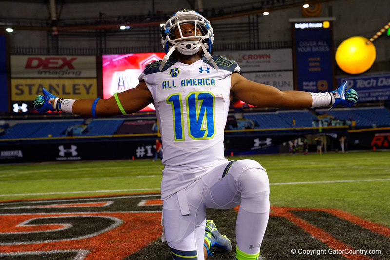 Team Highlight RB Ray-Ray McCloud III poses for the camera following the game.  2015 Under Armour All-America High School Football Game.  January 2nd, 2015. Gator Country photo by David Bowie