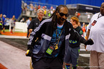 Snoop Dog dancing and talking with the fans during halftime.  Snoop's son, Cordell Broadus, was a wide receiver for Team Armour.  2015 Under Armour All-America High School Football Game.  January 2nd, 2015. Gator Country photo by David Bowie.