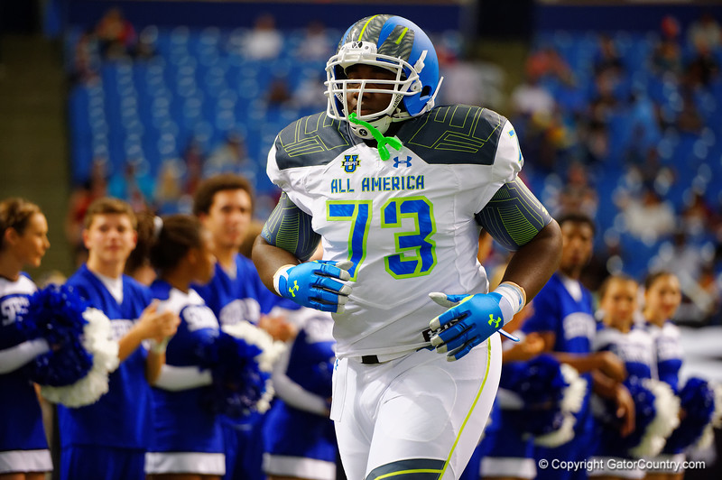St.Louis runs out during player introductions.  2015 Under Armour All-America High School Football Game.  January 2nd, 2015. Gator Country photo by David Bowie.