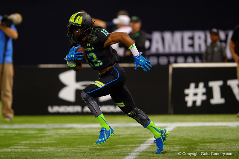 Team Armour WR Tyron Johnson sprints up-field on the kickoff return.  2015 Under Armour All-America High School Football Game.  January 2nd, 2015. Gator Country photo by David Bowie.