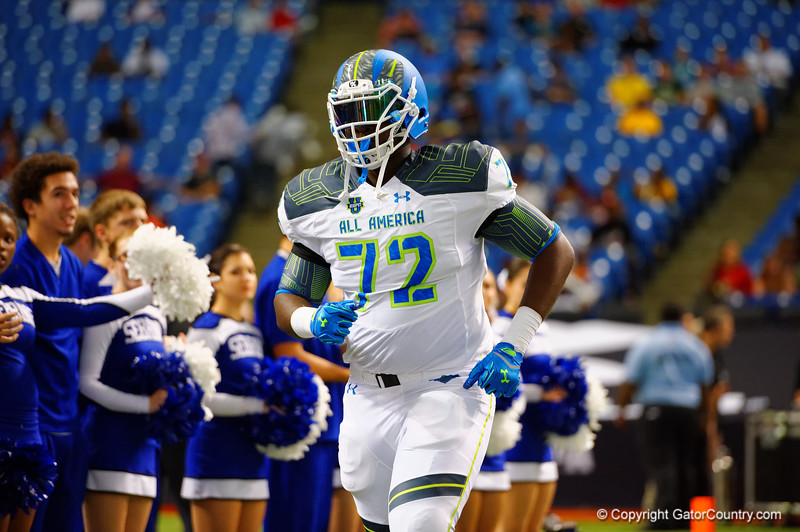 Team Highlight OT Abdul Bello runs out during player introductions.  2015 Under Armour All-America High School Football Game.  January 2nd, 2015. Gator Country photo by David Bowie.