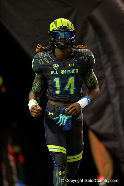 Team Armour WR Brandon Martin runs out during player introductions.  2015 Under Armour All-America High School Football Game.  January 2nd, 2015. Gator Country photo by David Bowie.
