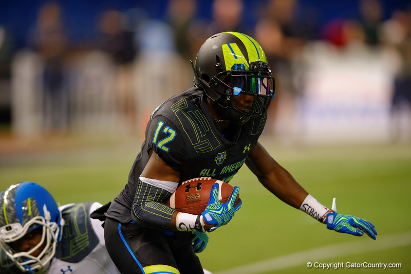 Team Armour WR Christian Kirk shakes off a tackle.  2015 Under Armour All-America High School Football Game.  January 2nd, 2015. Gator Country photo by David Bowie.