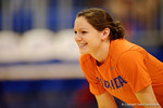 Florida Gators Volleyball player Holly Pole smiling during pre-game warm ups. Florida Gators Volleyball vs Mississippi State Bulldogs.  October 26th, 2014. Gator Country photo by David Bowie.