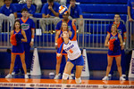 Florida Gators Volleyball player Mackenzie Dagostino serving during the second set of the match.  Florida Gators Volleyball vs Mississippi State Bulldogs.  October 26th, 2014. Gator Country photo by David Bowie.