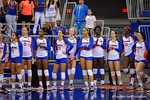 The Florida Gators volleyball team watches on as the the first set in the match continues on.  Florida Gators Volleyball vs Mississippi State Bulldogs.  October 26th, 2014. Gator Country photo by David Bowie.