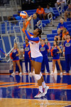 Florida Gators Volleyball player Rhamat Alhassan serves during the first set.  Florida Gators Volleyball vs Mississippi State Bulldogs.  October 26th, 2014. Gator Country photo by David Bowie.