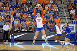 Florida Gators Volleyball player Abby Detering leaps into the air to set the ball during the first set.   Florida Gators Volleyball vs Mississippi State Bulldogs.  October 26th, 2014. Gator Country photo by David Bowie.
