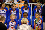 The Florida Gators volleyball team listening to head coach Mary Wise following their first set win.  Florida Gators Volleyball vs Mississippi State Bulldogs.  October 26th, 2014. Gator Country photo by David Bowie.