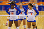 Florida Gators Volleyball players Shainah Joseph, Mackenzie Dagostino and Noami Santos-Lamb prepare for the Mississippi State serve during the second set of the match.  Florida Gators Volleyball vs Mississippi State Bulldogs.  October 26th, 2014. Gator Country photo by David Bowie.