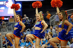 The University of Florida Cheerleaders cheer on for the crowd before the start of the game.  Florida Gators Volleyball vs Mississippi State Bulldogs.  October 26th, 2014. Gator Country photo by David Bowie.