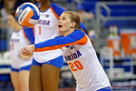 Florida Gators Volleyball player Nikki O'Rourke bumping a ball during pre-game warm ups.  Florida Gators Volleyball vs Mississippi State Bulldogs.  October 26th, 2014. Gator Country photo by David Bowie.