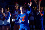 Florida Gators Volleyball player Holly Pole waves to the crowd as she is introduced before the start of the game.  Florida Gators Volleyball vs Mississippi State Bulldogs.  October 26th, 2014. Gator Country photo by David Bowie.