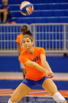 Florida Gators Volleyball player Alex Holston bumps a ball during pre-game warm ups.  Florida Gators Volleyball vs Mississippi State Bulldogs.  October 26th, 2014. Gator Country photo by David Bowie.