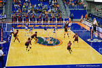 Florida Gators Volleyball player Ziva Recek spikes the ball for a pointduring the third set in the match.  Florida Gators Volleyball vs Mississippi State Bulldogs.  October 26th, 2014. Gator Country photo by David Bowie.