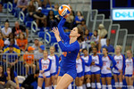 Florida Gators Volleyball player Holly Pole serves during the first set. Florida Gators Volleyball vs Mississippi State Bulldogs.  October 26th, 2014. Gator Country photo by David Bowie.