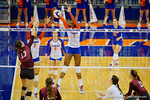 Florida Gators Volleyball player Rhamat Alhassan with a blockduring the third set in the match.  Florida Gators Volleyball vs Mississippi State Bulldogs.  October 26th, 2014. Gator Country photo by David Bowie.