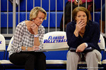 Florida Gators volleyball head coach Mary Wise and assistant coach Shannon Wells watch on as the Gators play the second set in the match.  Florida Gators Volleyball vs Mississippi State Bulldogs.  October 26th, 2014. Gator Country photo by David Bowie.