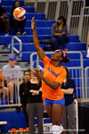 Florida Gators Volleyball player Simone Antwi serving during pre-game warm ups. Florida Gators Volleyball vs Mississippi State Bulldogs.  October 26th, 2014. Gator Country photo by David Bowie.