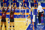 Florida Gators Volleyball player Carli Snyder with a spike during the third set in the match.  Florida Gators Volleyball vs Mississippi State Bulldogs.  October 26th, 2014. Gator Country photo by David Bowie.
