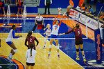 Florida Gators Volleyball player Ziva Recek leaps in an attempt to block a ball during the third set in the match.  Florida Gators Volleyball vs Mississippi State Bulldogs.  October 26th, 2014. Gator Country photo by David Bowie.