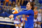 Florida Gators Volleyball player Holly Pole bumps a ball during pre-game warm ups. Florida Gators Volleyball vs Mississippi State Bulldogs.  October 26th, 2014. Gator Country photo by David Bowie.