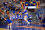 Florida Gators Volleyball player Taylor Unroe serving during the first set.  Florida Gators Volleyball vs Mississippi State Bulldogs.  October 26th, 2014. Gator Country photo by David Bowie.