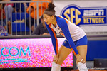 Florida Gators Volleyball player Alex Holston gets set for the a serveby Mississippi State during the first set.  Florida Gators Volleyball vs Mississippi State Bulldogs.  October 26th, 2014. Gator Country photo by David Bowie.