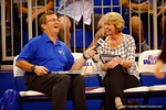 Florida Gators volleyball head coach Mary Wise is interviewed before the game by the Gator Network.  Florida Gators Volleyball vs Mississippi State Bulldogs.  October 26th, 2014. Gator Country photo by David Bowie.