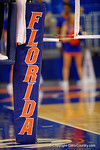 The Florida Gator volleyball net pad.  Florida Gators Volleyball vs Mississippi State Bulldogs.  October 26th, 2014. Gator Country photo by David Bowie.