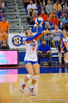 Florida Gators Volleyball player Mackenzie Dagostino bumps the ball during the first set.  Florida Gators Volleyball vs Mississippi State Bulldogs.  October 26th, 2014. Gator Country photo by David Bowie.