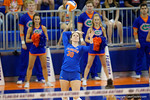 Florida Gators Volleyball player Holly Pole serves during the third set in the match.  Florida Gators Volleyball vs Mississippi State Bulldogs.  October 26th, 2014. Gator Country photo by David Bowie.