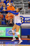 Florida Gators Volleyball player Alex Holston with a bump pass during the first set.  Florida Gators Volleyball vs Mississippi State Bulldogs.  October 26th, 2014. Gator Country photo by David Bowie.