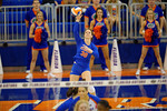 Florida Gators Volleyball player Holly Pole serves the ball to begin the third set.  Florida Gators Volleyball vs Mississippi State Bulldogs.  October 26th, 2014. Gator Country photo by David Bowie.