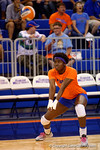 Florida Gators Volleyball player Shainah Joseph bumps a ball during pre-game warmups.  Florida Gators Volleyball vs Mississippi State Bulldogs.  October 26th, 2014. Gator Country photo by David Bowie.