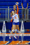 Florida Gators Volleyball player Mackenzie Dagostino servingduring the second set of the match.  Florida Gators Volleyball vs Mississippi State Bulldogs.  October 26th, 2014. Gator Country photo by David Bowie.