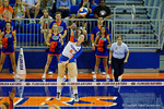 Florida Gators Volleyball player Taylor Unroe serves during the third set in the match.  Florida Gators Volleyball vs Mississippi State Bulldogs.  October 26th, 2014. Gator Country photo by David Bowie.