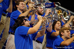 The University of Florida band plays on as the Gators take the floor.  Florida Gators Volleyball vs Mississippi State Bulldogs.  October 26th, 2014. Gator Country photo by David Bowie.