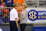Florida Gators volleyball head coach Mary Wise has a discussion with one of the referrees during the first set.  Florida Gators Volleyball vs Mississippi State Bulldogs.  October 26th, 2014. Gator Country photo by David Bowie.