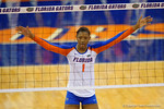 Florida Gators Volleyball player Rhamat Alhassan at the netduring the third set in the match.  Florida Gators Volleyball vs Mississippi State Bulldogs.  October 26th, 2014. Gator Country photo by David Bowie.