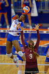 Florida Gators Volleyball player Rhamat Alhassan with the kill and point during the second set of the match.  Florida Gators Volleyball vs Mississippi State Bulldogs.  October 26th, 2014. Gator Country photo by David Bowie.