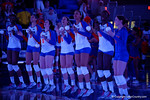 The Florida Gators volleyball team is introduced before the start of the game.  Florida Gators Volleyball vs Mississippi State Bulldogs.  October 26th, 2014. Gator Country photo by David Bowie.