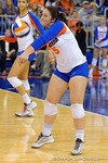Florida Gators Volleyball player Taylor Unroe bumps the ball during the first set.  Florida Gators Volleyball vs Mississippi State Bulldogs.  October 26th, 2014. Gator Country photo by David Bowie.
